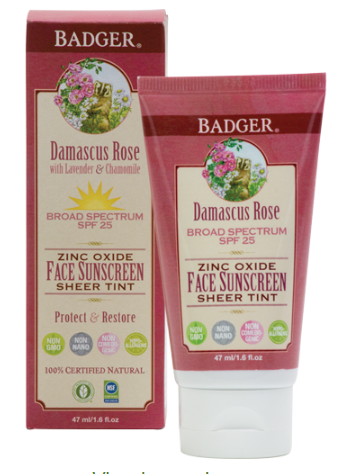 Badger Balm Damascus Rose  Tinted Face Sunscreen